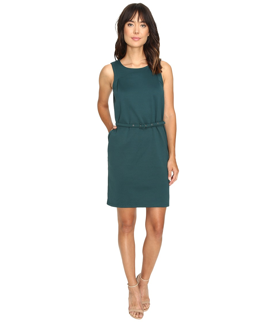 Christin Michaels - Marianna Sleeveless Ponte Dress with Belt (Teal) Women's Dress