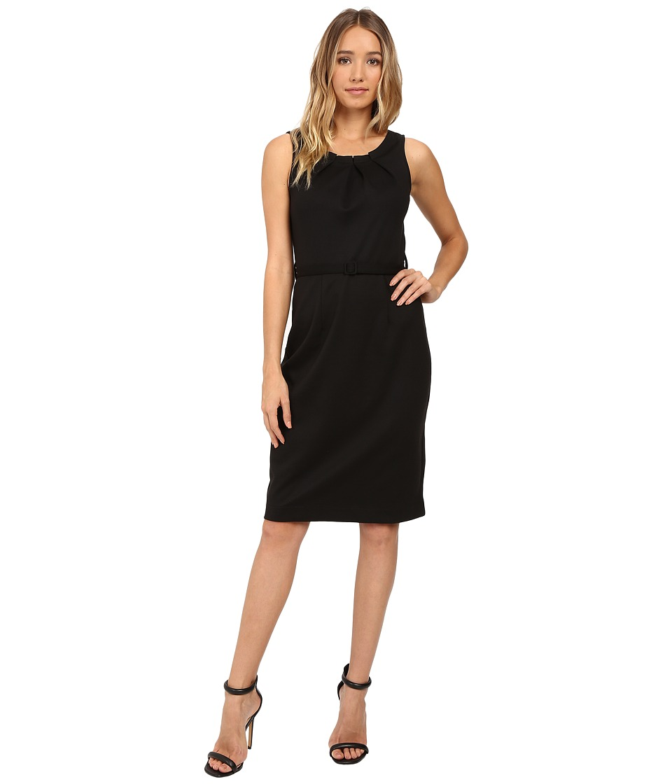 Christin Michaels - Merla Sleeveless Pleated Ponte Dress (Black) Women's Dress