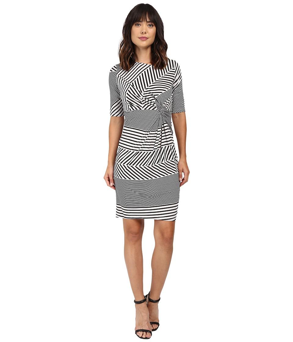 Christin Michaels Eugina Twisted Front Short Sleeve Dress (Black/White) Women