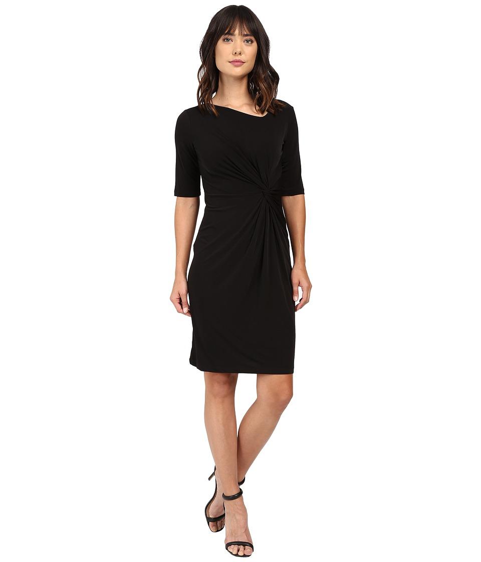 Christin Michaels Eugina Twisted Front Short Sleeve Dress (Black) Women