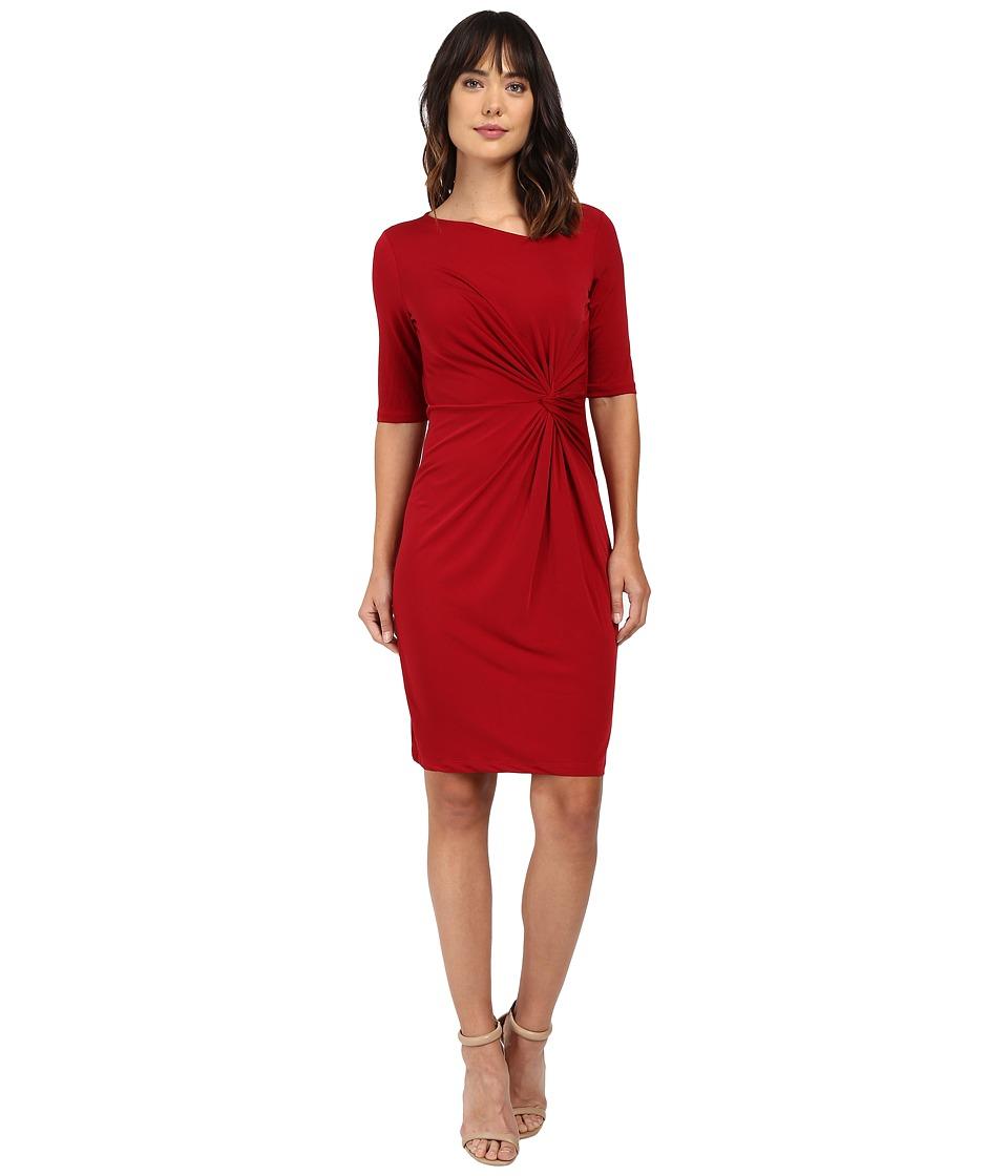 Christin Michaels Eugina Twisted Front Short Sleeve Dress (Wine) Women
