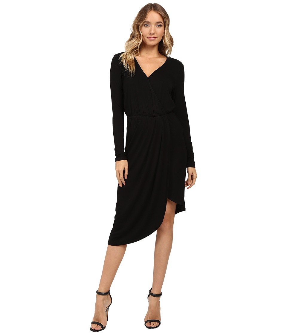 Christin Michaels Ailie Long Sleeve Crossed Dress (Black) Women