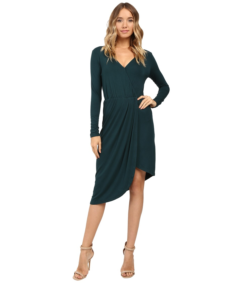 Christin Michaels Ailie Long Sleeve Crossed Dress (Emerald) Women