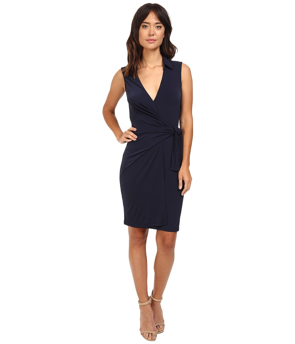 Christin Michaels Gracy Sleeveless Wrap Dress with Collar (Navy) Women