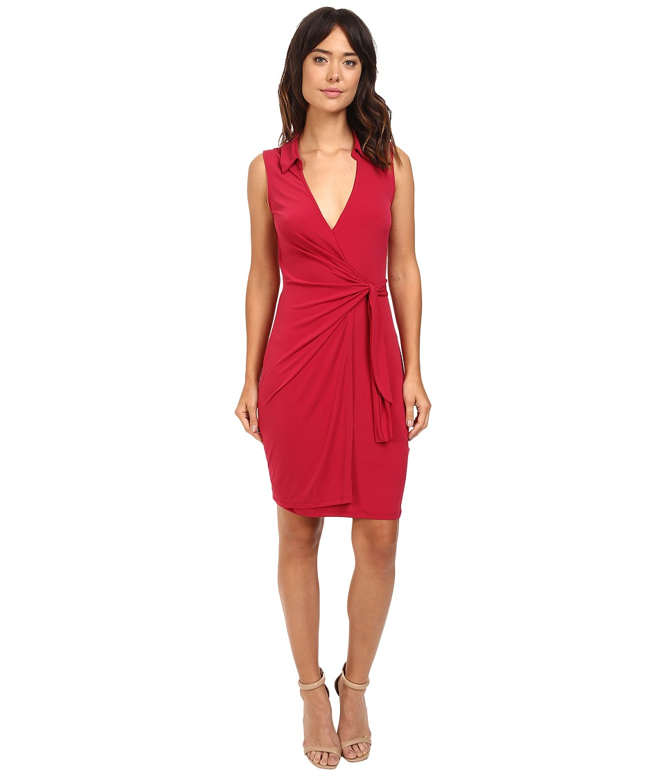 Christin Michaels Gracy Sleeveless Wrap Dress with Collar (Cranberry) Women