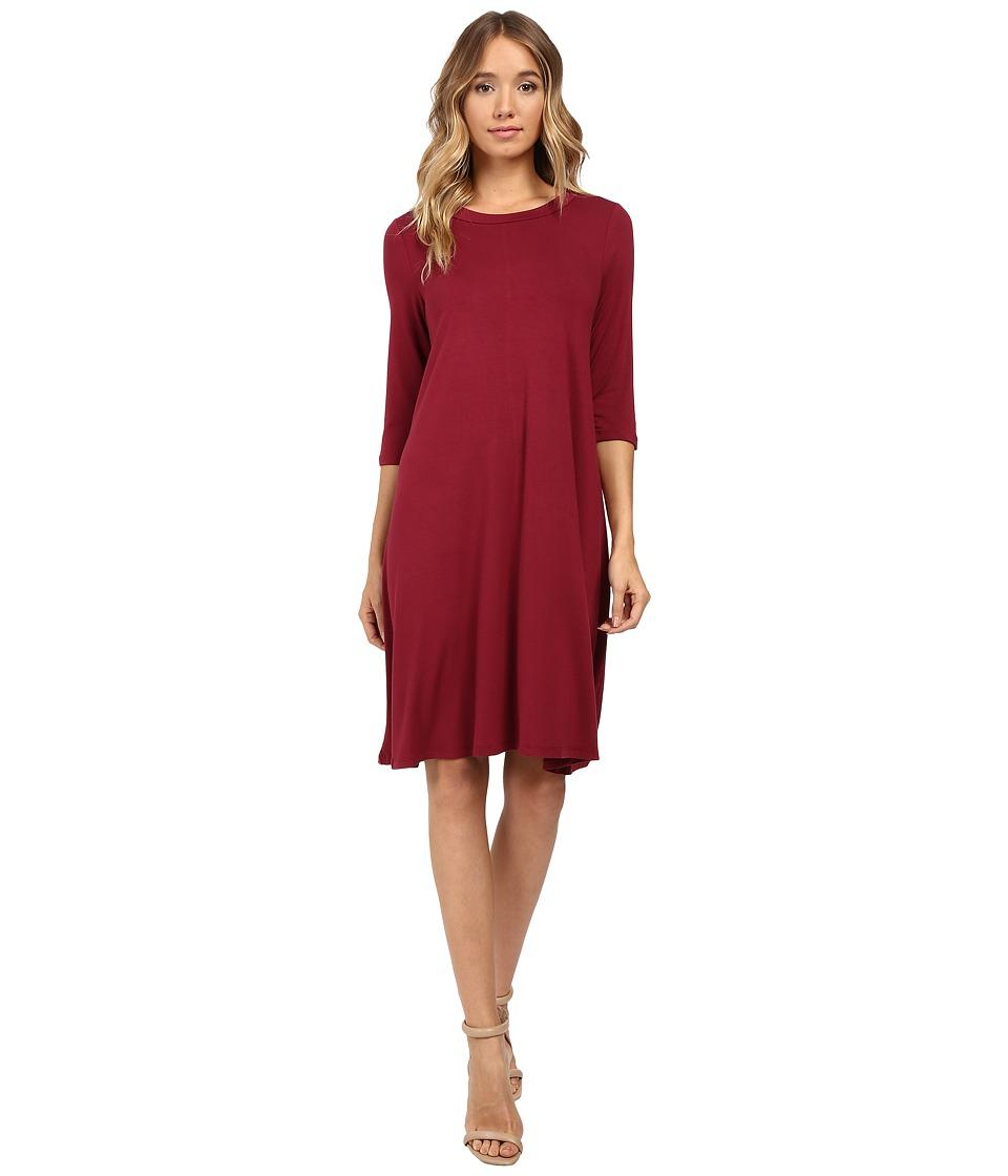 Christin Michaels Abida 3/4 Sleeve Flowy Dress (Wine) Women