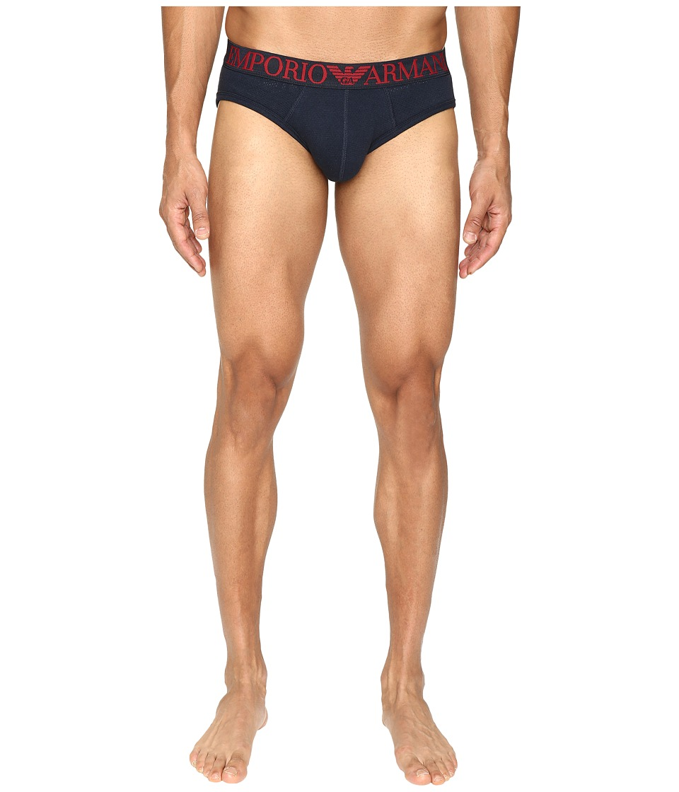 Emporio Armani - Cotton Mesh Brief (Marine) Men's Underwear