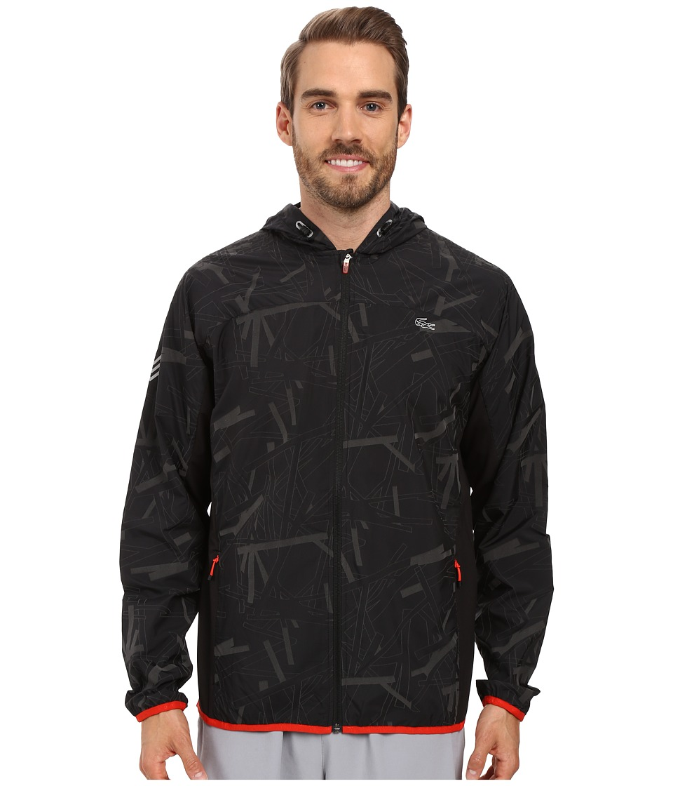 Lacoste - Performance Printed Jacket (Black/Matador Red) Men's Coat