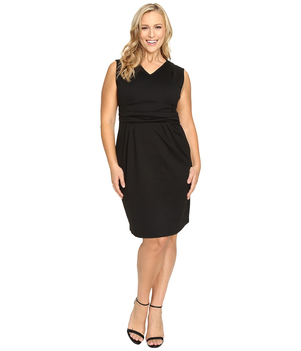 Christin Michaels - Plus Size Kassandra V-Neck Ponte Dress with Cinched Waist (Black) Women's Dress