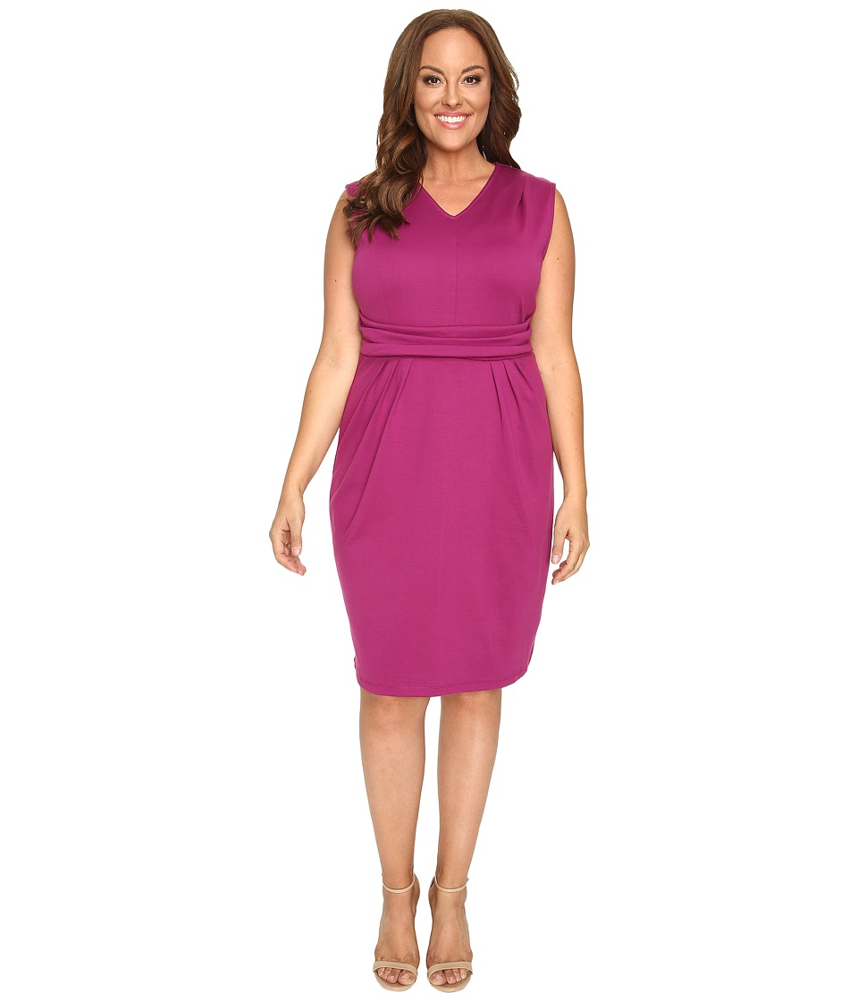 Christin Michaels - Plus Size Kassandra V-Neck Ponte Dress with Cinched Waist (Magenta) Women's Dress