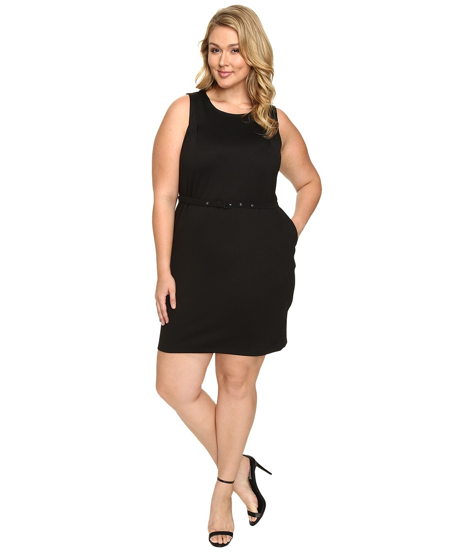 Christin Michaels - Plus Size Marianna Sleeveless Ponte Dress with Belt (Black) Women's Dress