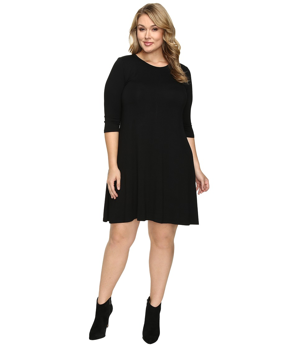 Christin Michaels - Plus Size Abida 3/4 Sleeve Flowy Dress (Black) Women's Dress