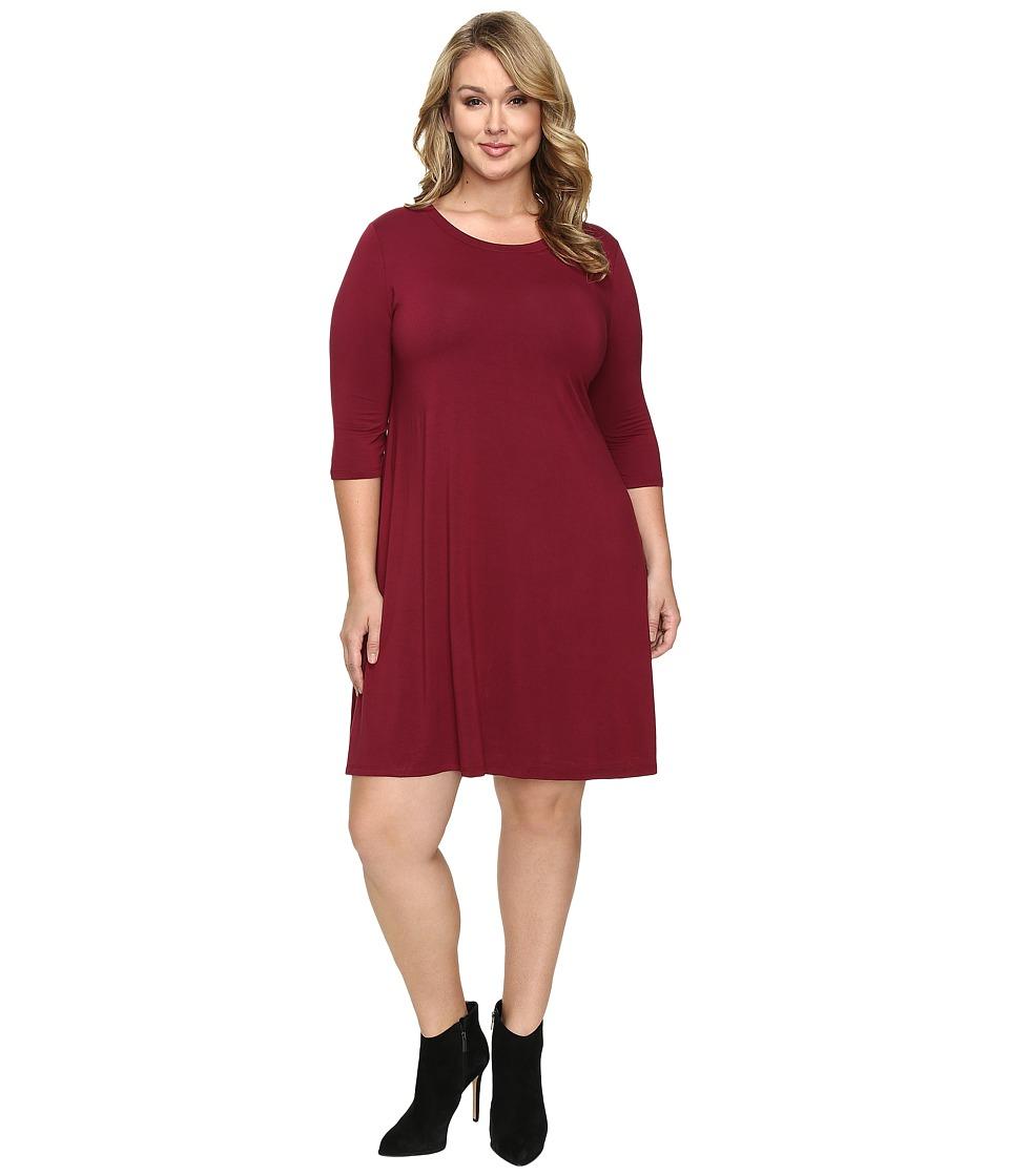 Christin Michaels - Plus Size Abida 3/4 Sleeve Flowy Dress (Wine) Women's Dress