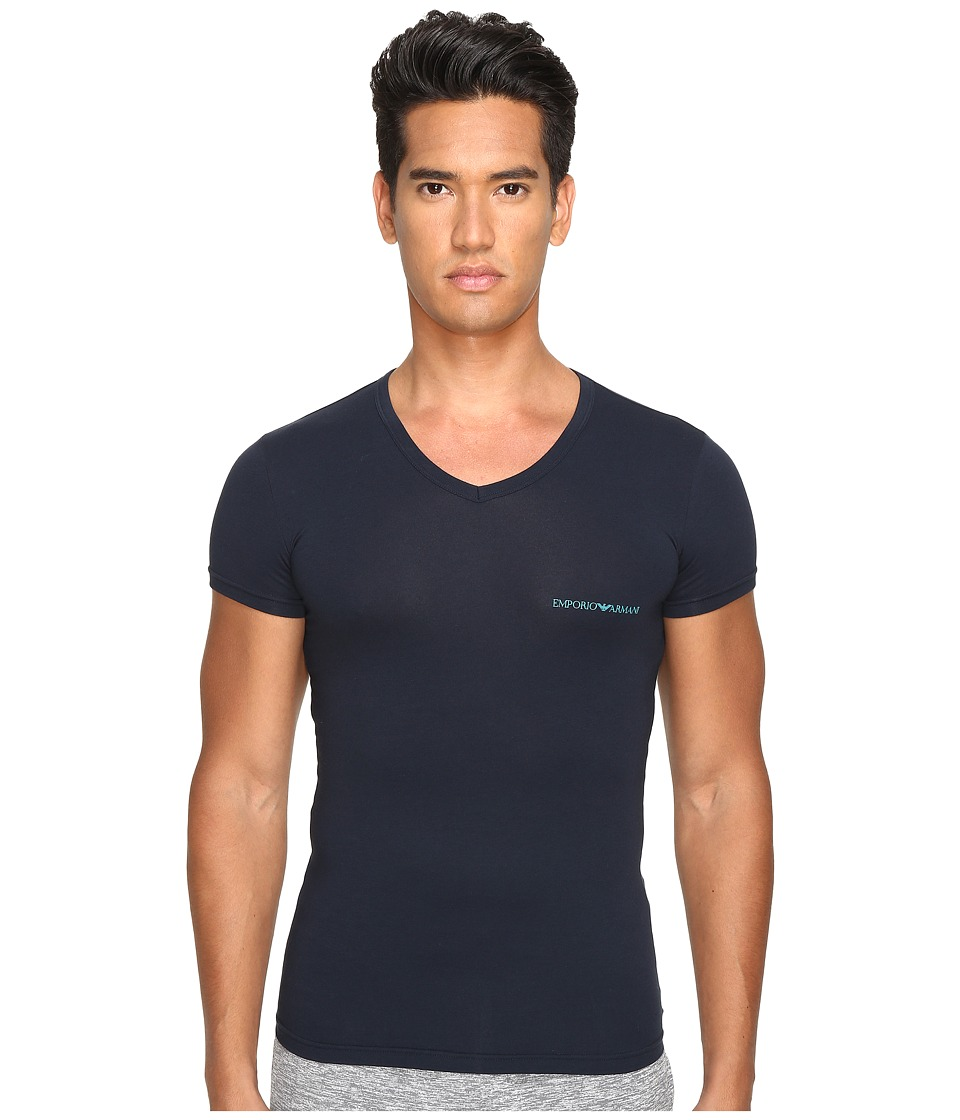 Emporio Armani - Stretch Cotton Color Multipack V-Neck (Marine) Men's T Shirt