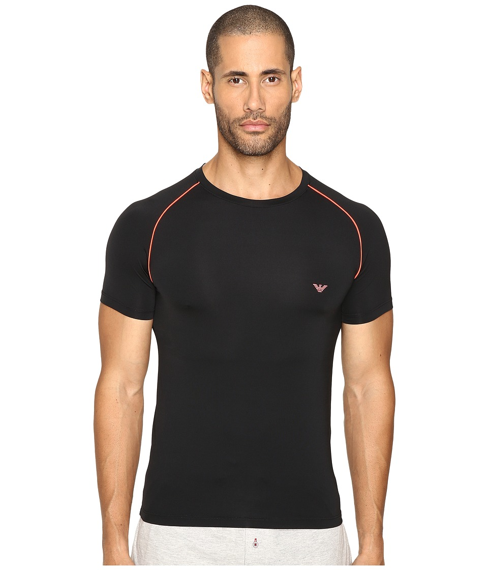 Emporio Armani - Fluo Piping Microfiber T-Shirt (Black) Men's T Shirt