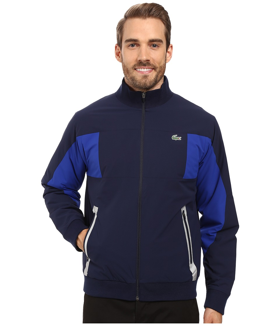 Lacoste - Golf Taffeta Color Block Jacket (Navy Blue/France) Men's Coat
