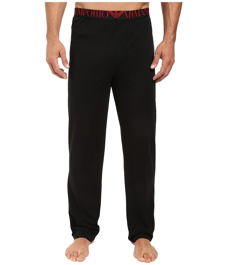 Emporio Armani - Xmas-Mirror Effect Eagle Trousers (Black) Men's Casual Pants