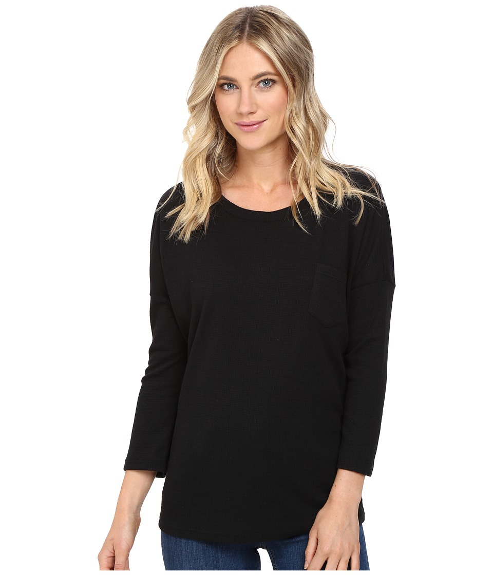 Culture Phit - Alana 3/4 Sleeve Waffle Top with Pocket (Black) Women's Clothing