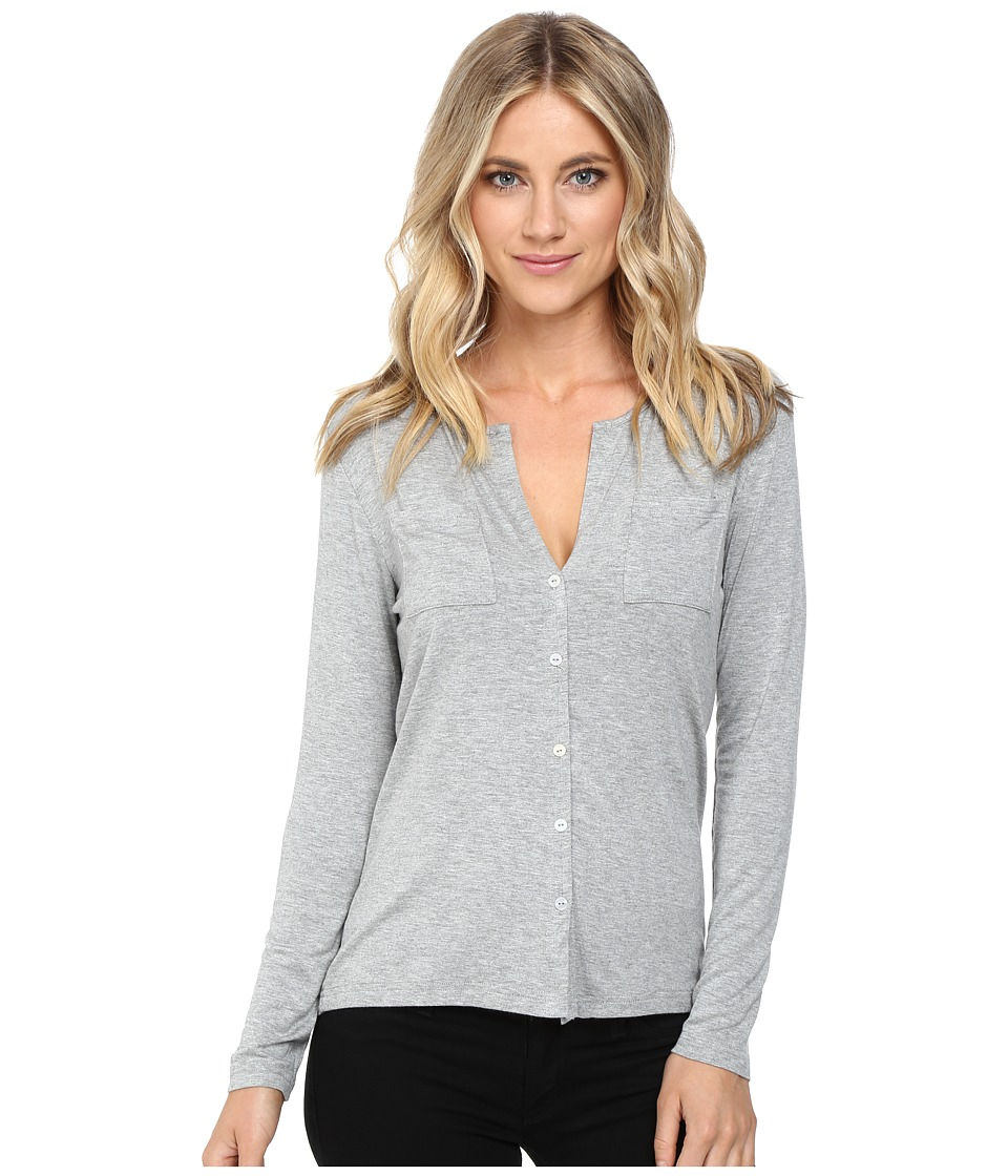 Culture Phit - Breya Long Sleeve Button Up Top (Heather Grey) Women's Long Sleeve Button Up