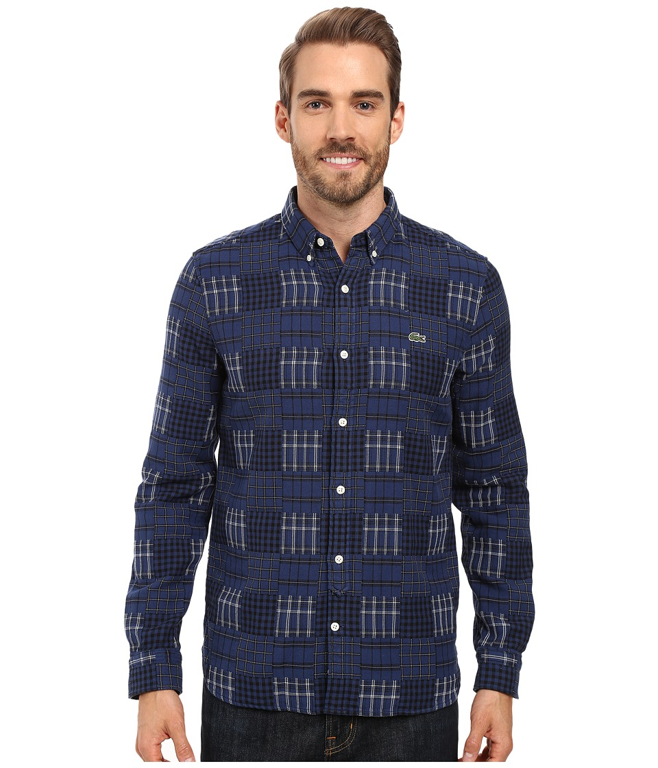 Lacoste - L!ve Long Sleeve Multi Pattern Flannel Shirt (Jazz/Black/White) Men's Clothing