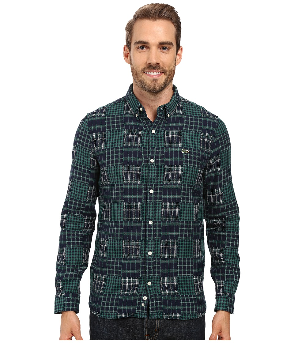 Lacoste - L!ve Long Sleeve Multi Pattern Flannel Shirt (Navy Blue/Bottle Green/White) Men's Clothing