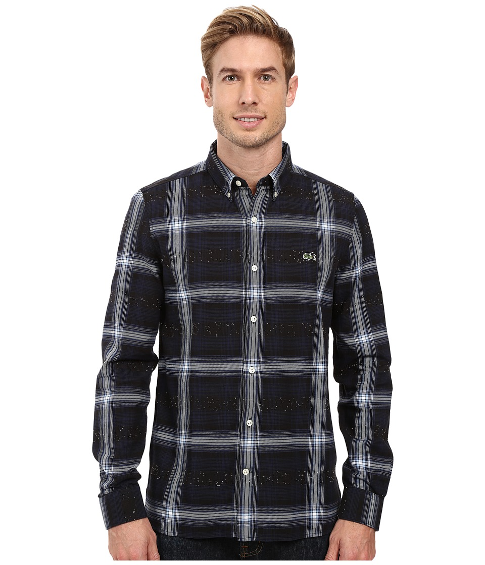 Lacoste - L!ve Long Sleeve Cotton Flannel Shirt (Navy Blue/Multicolor) Men's Long Sleeve Button Up