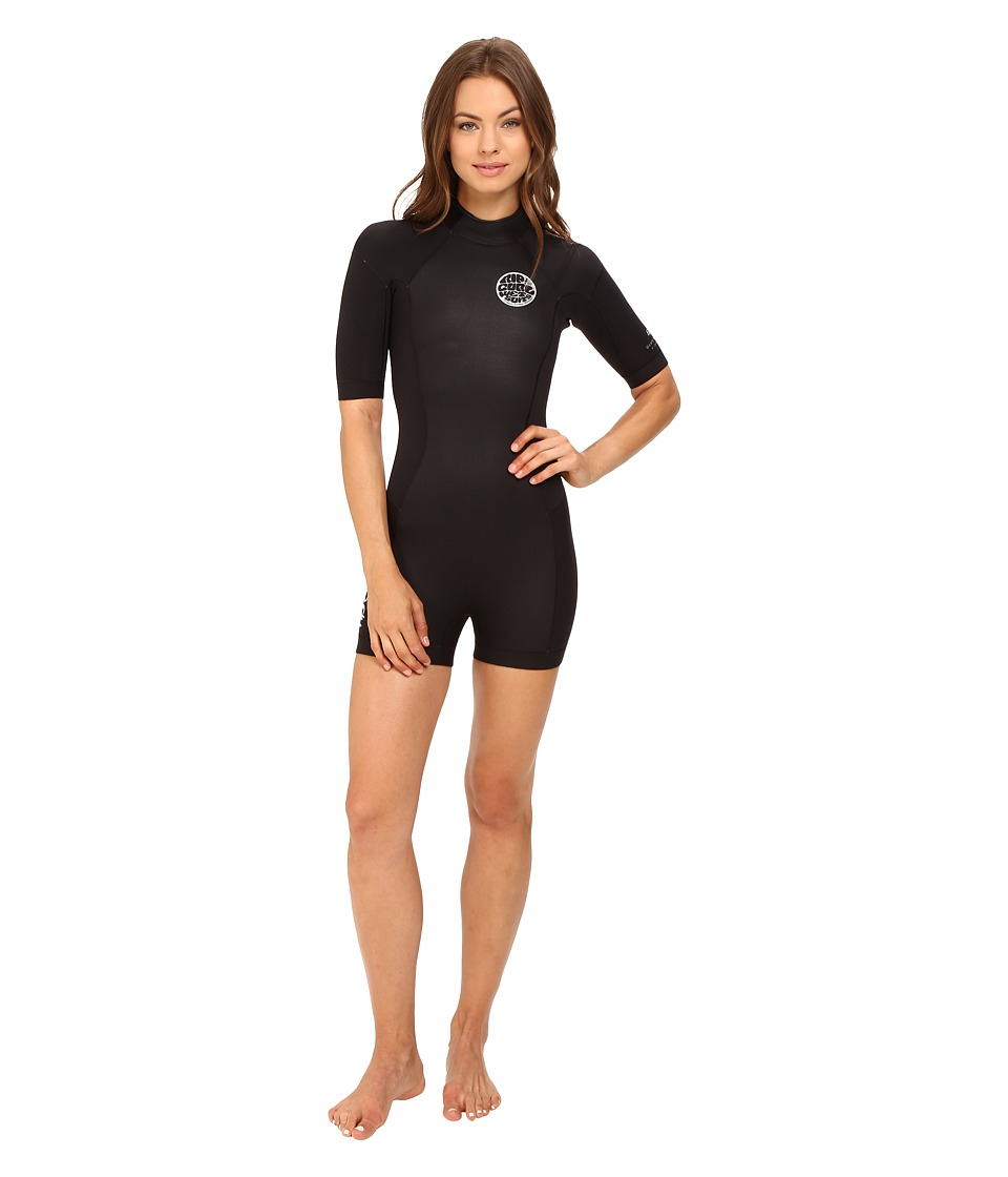 Rip Curl - Dawn Patrol Short Sleeve Spring (Black) Women's Wetsuits One Piece