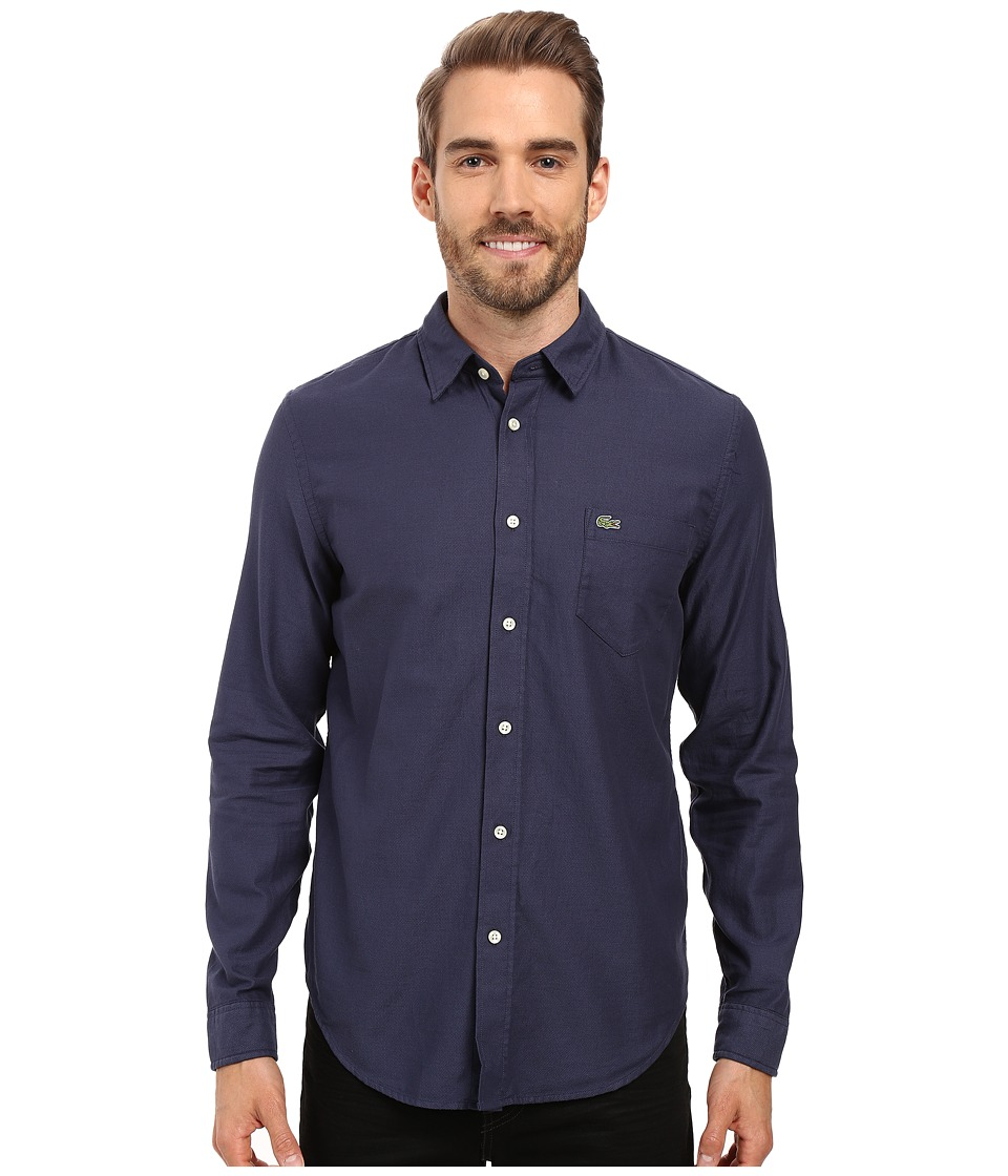 Lacoste - Long Sleeve Pique Jacquard Pattern Woven Shirt (Philippines Blue/Navy) Men's Clothing