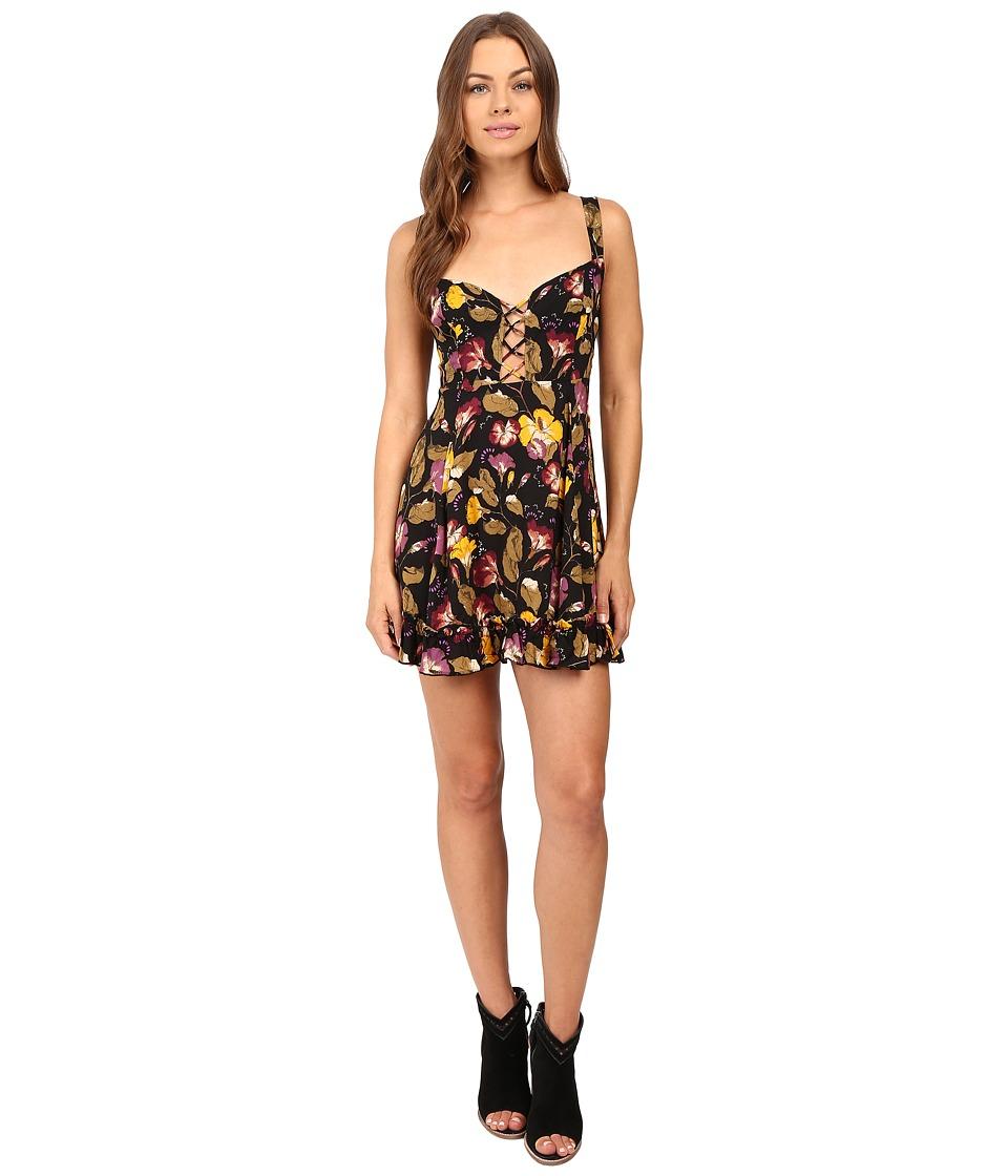 Free People - Lattice Lovers Mini Slip (Black Combo) Women's Dress
