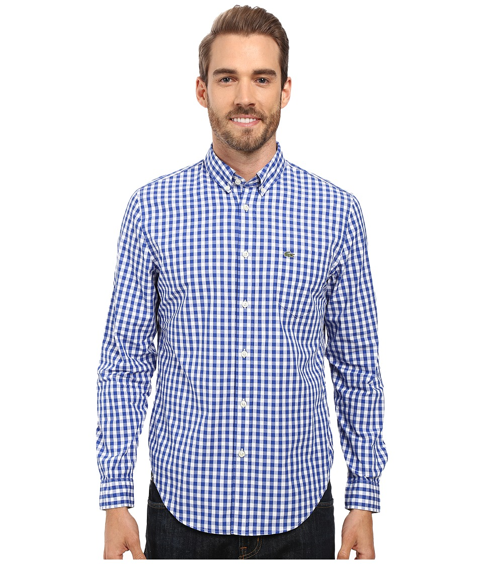Lacoste - Segment 1 Long Sleeve Gingham Check (Steamer/White) Men's Clothing
