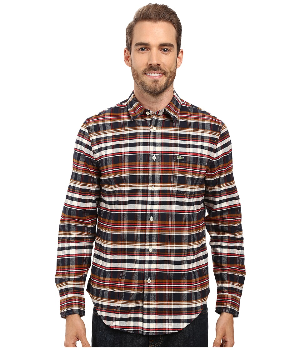 Lacoste - Long Sleeve Oxford Check (Cosmos/Redcurrant Bush/Tobacco) Men's Clothing