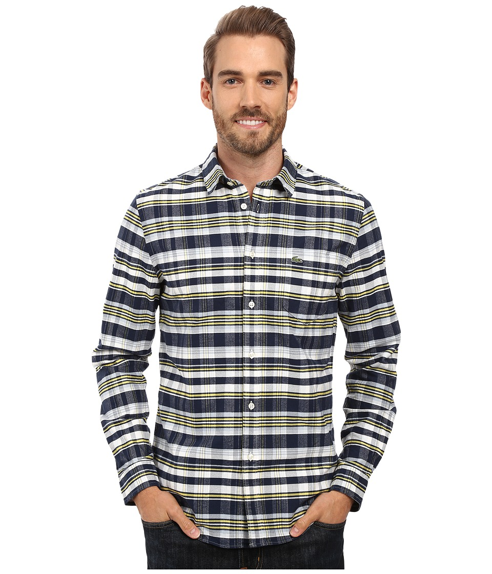 Lacoste - Long Sleeve Oxford Check (Navy Blue/Sunny/Breeze) Men's Clothing
