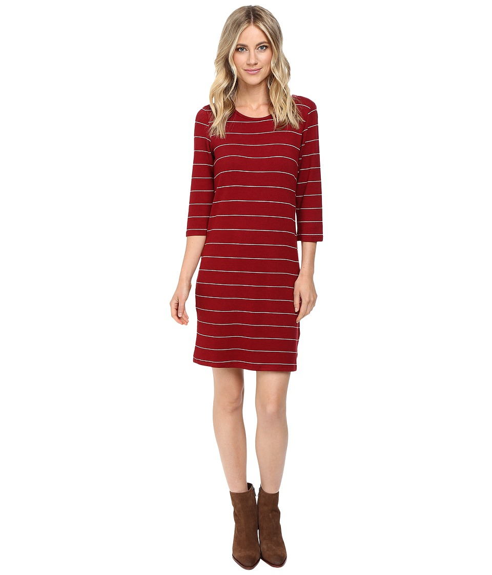 Culture Phit Ainsley Round Neck Sweater Dress (Burgundy/White) Women