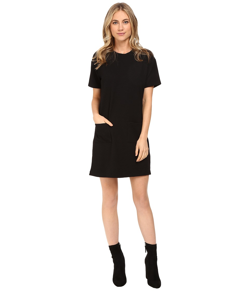 Culture Phit - Bellana Short Sleeve Waffle Dress with Pockets (Black) Women's Dress