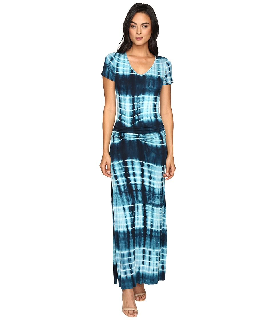 Culture Phit - Carlia Short Sleeve Gathered Maxi Dress (Navy/Aqua) Women's Dress