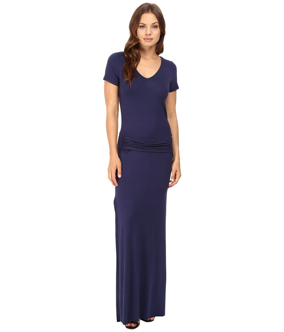 Culture Phit Carlia Short Sleeve Gathered Maxi Dress (Navy) Women
