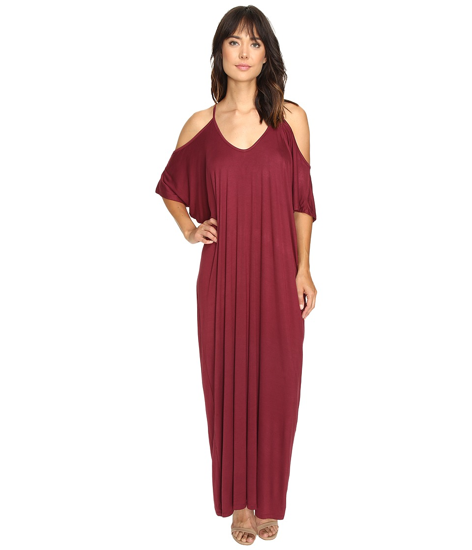 Culture Phit - Khayla Cold Shoulder Maxi Dress (Wine) Women's Dress