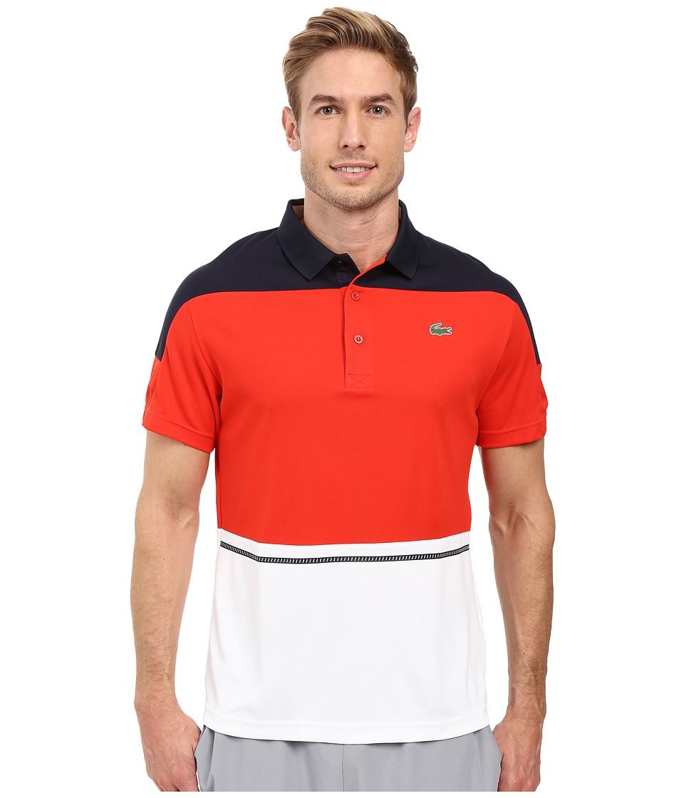 Lacoste - T2 Short Sleeve Color Block Ultra Dry (Navy Blue/Corrida/White) Men's Clothing