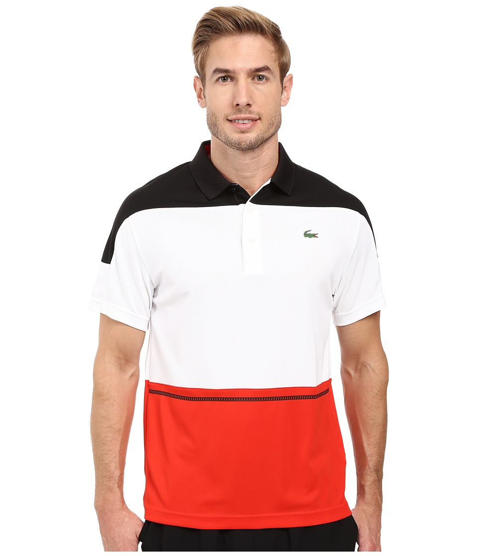 Lacoste - T2 Short Sleeve Color Block Ultra Dry (Black/White/Corrida) Men's Clothing