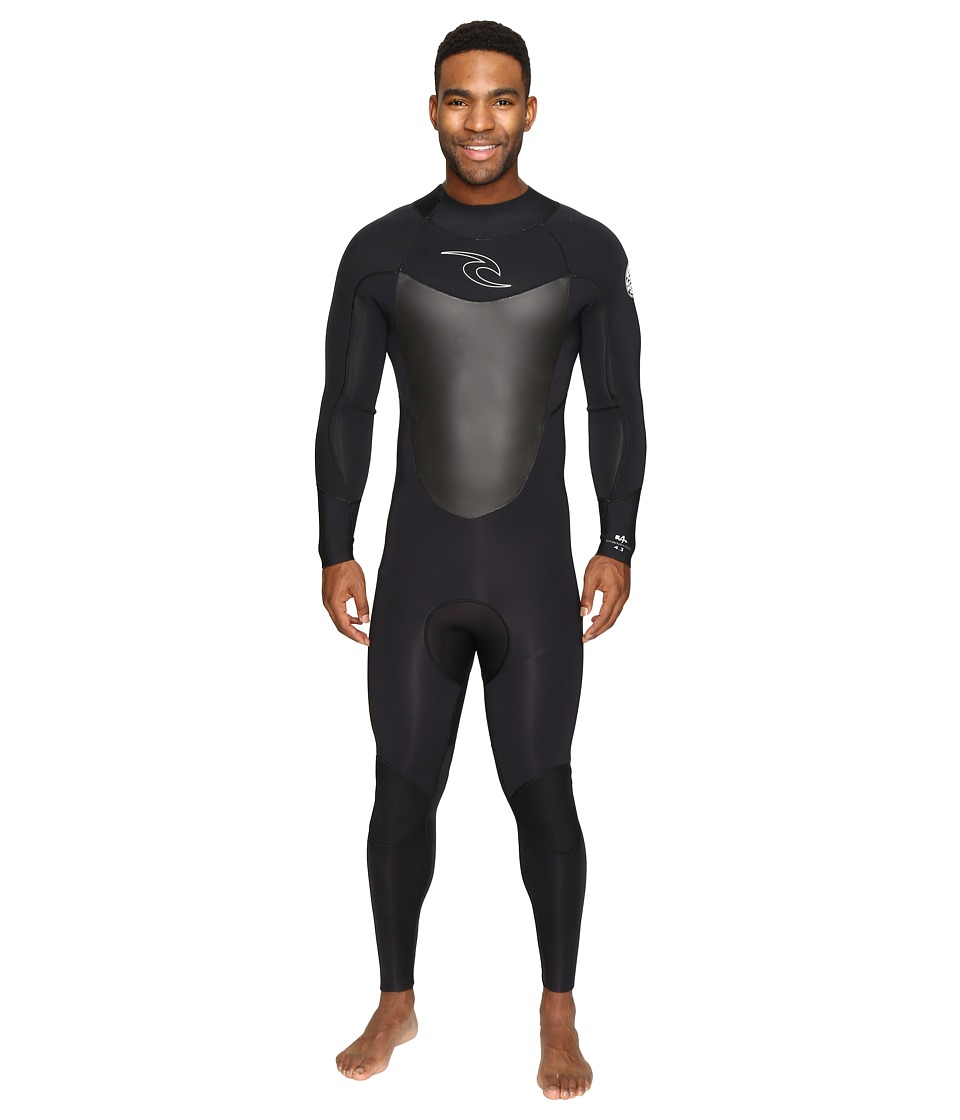 Rip Curl - Dawn Patrol 4/3 GB Back Zip STMR (Black) Men's Wetsuits One Piece
