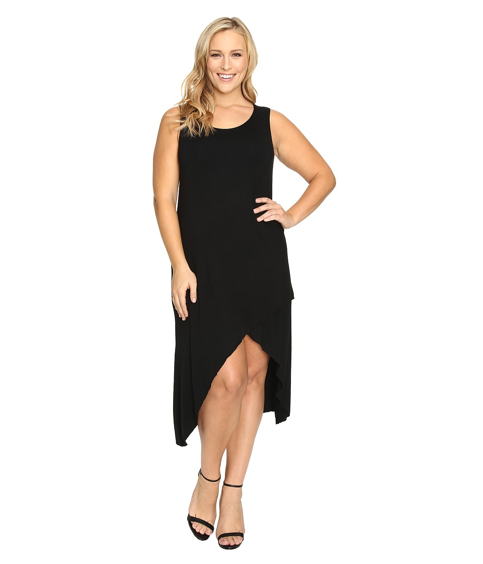 Culture Phit Plus Size Flynne Sleeveless Cross-Bottom Dress (Black) Women