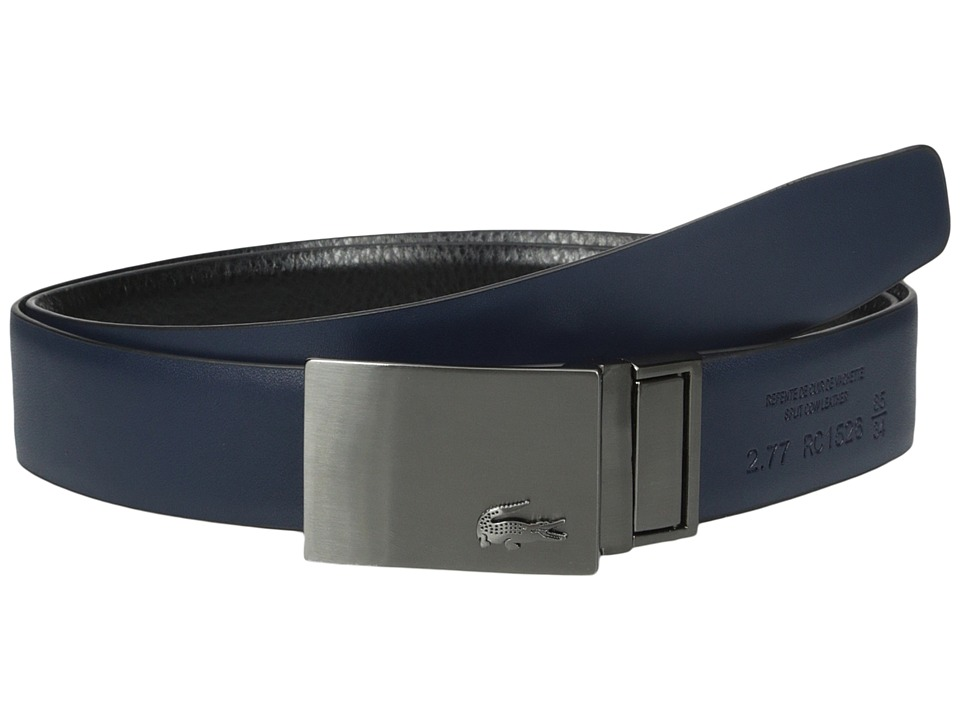 Lacoste - Classic Brushed Nickel Plaque Belt (Black/Navy) Men's Belts