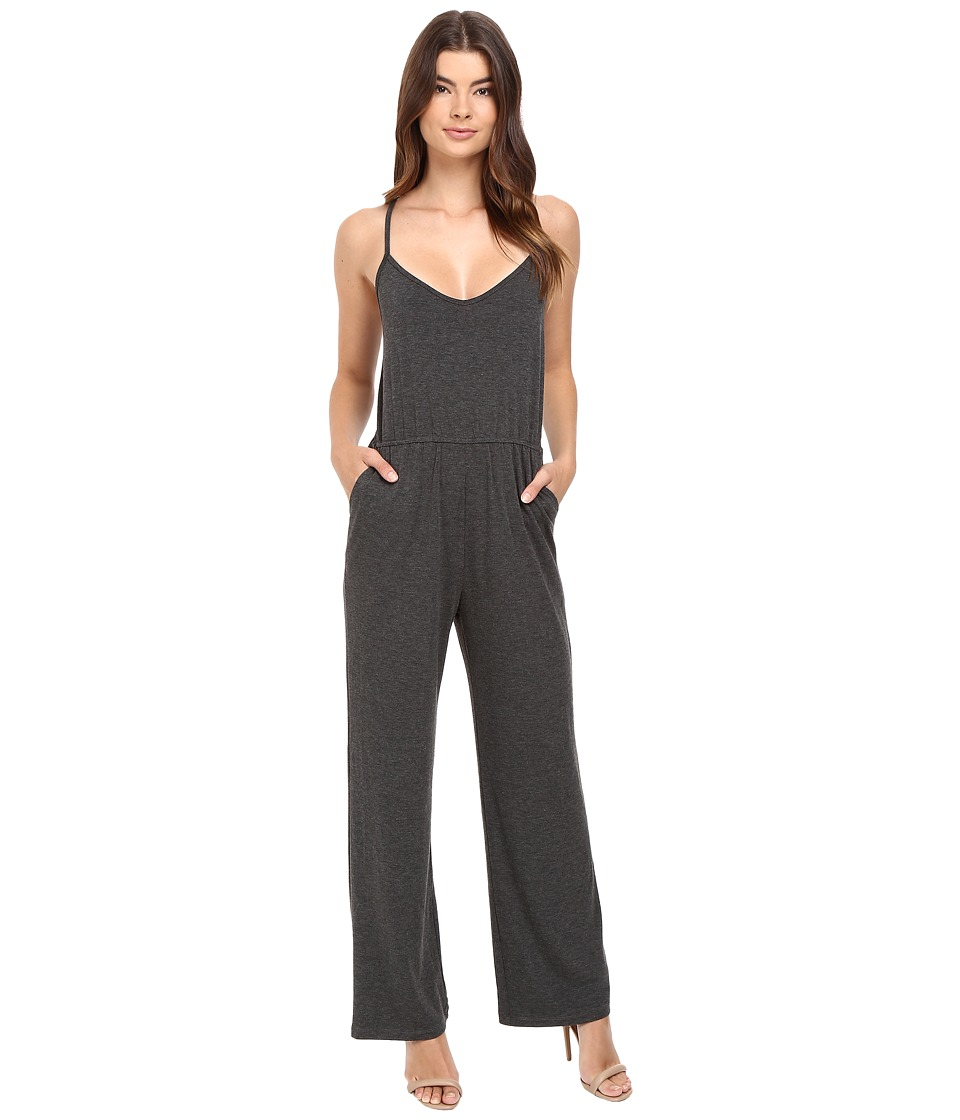 Culture Phit - Jeanette Spaghetti Strap Jumper with Open Back (Heather Charcoal) Women's Jumpsuit & Rompers One Piece