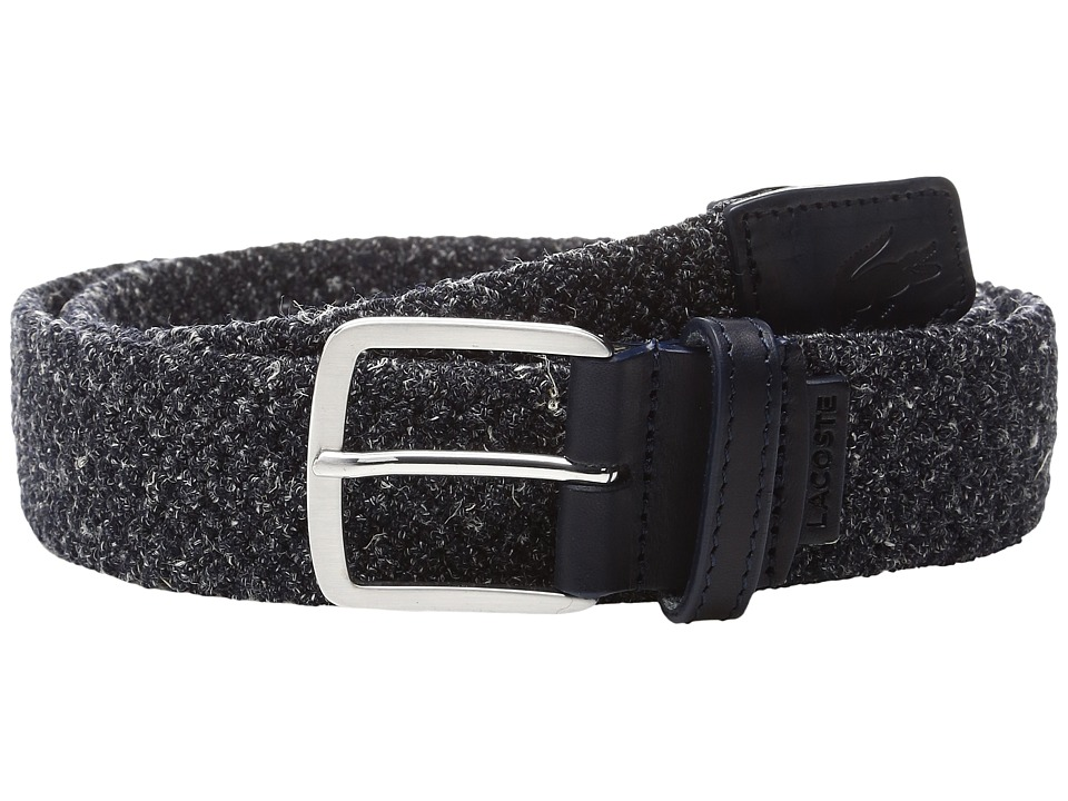 Lacoste - 35mm Belt Woven (Mottled Navy) Men's Belts