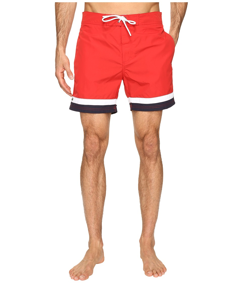 Lacoste - Color Block Swim Shorts (Red/White/Cosmos) Men's Swimwear