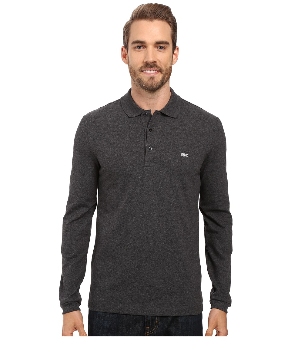 Lacoste - Long Sleeve Stretch Grey Croc Pique Polo (Dark Grey Jaspe Chine) Men's Clothing