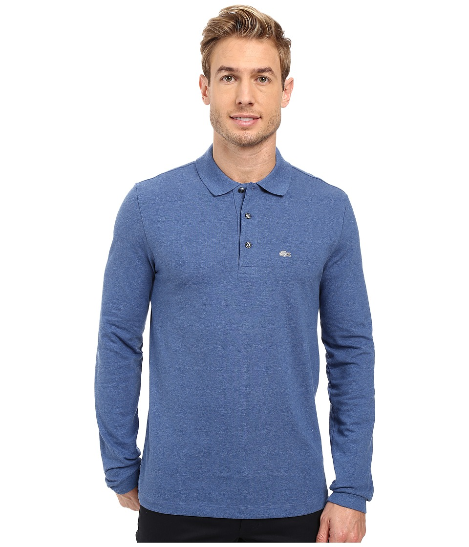 Lacoste - Long Sleeve Stretch Grey Croc Pique Polo (Storm Chine) Men's Clothing