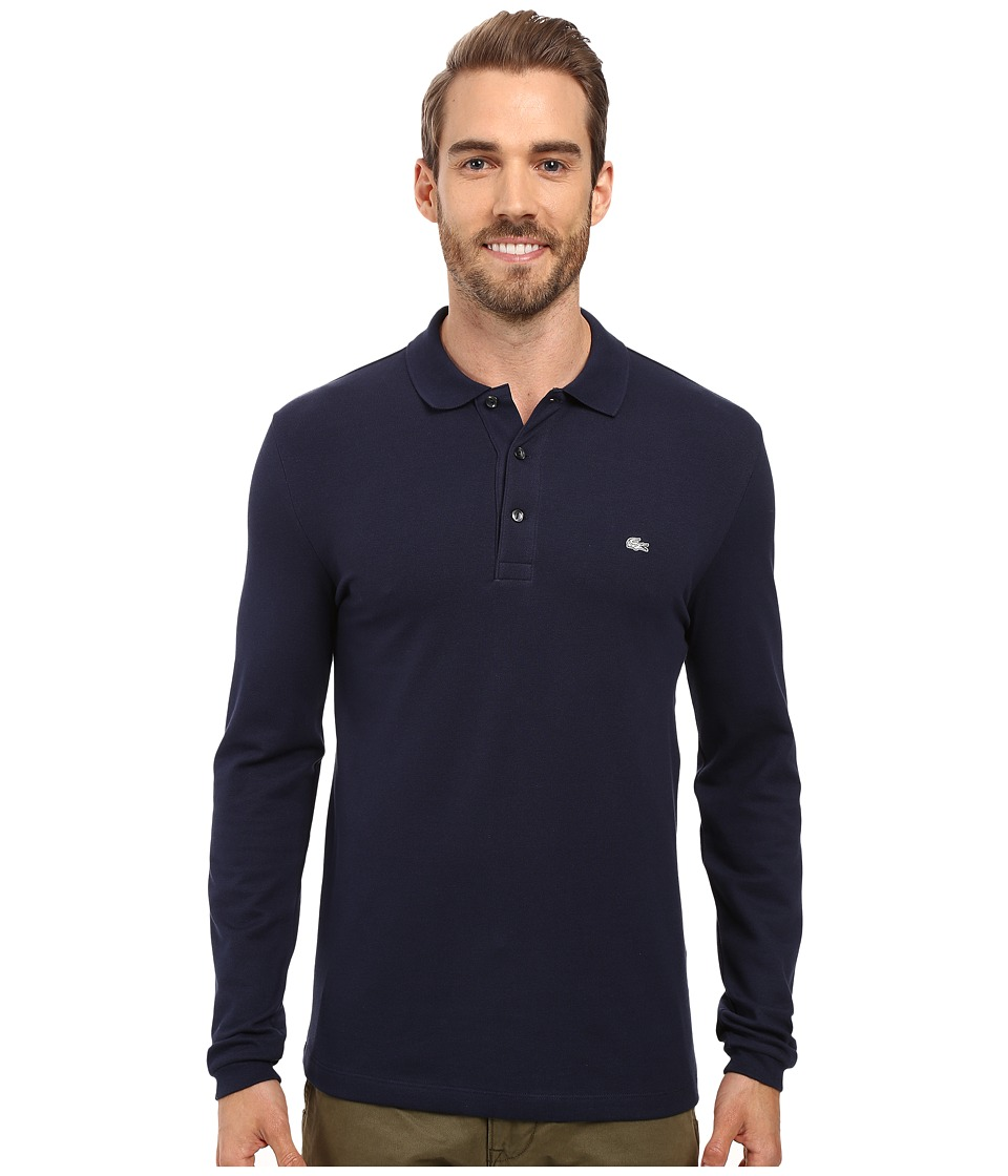 Lacoste - Long Sleeve Stretch Grey Croc Pique Polo (Navy Blue) Men's Clothing