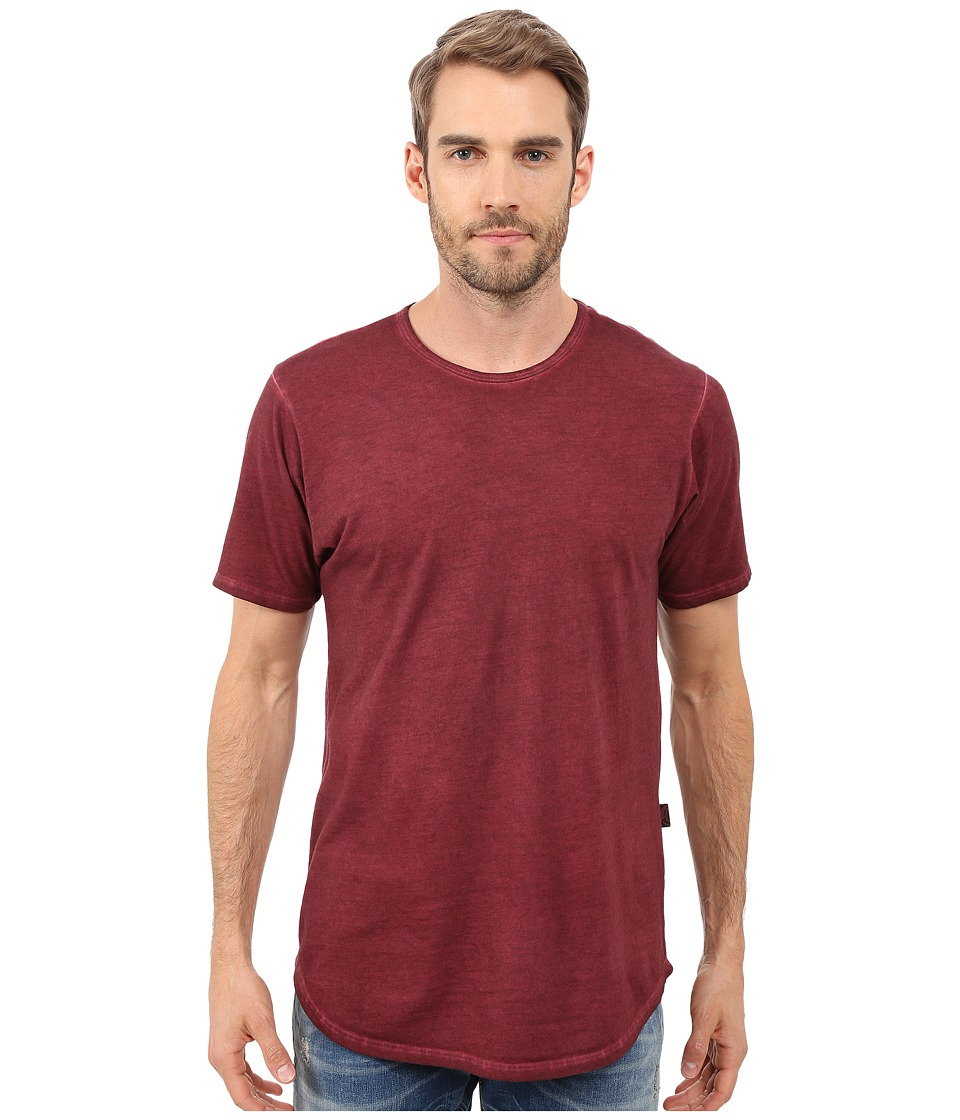 Rustic Dime - Oil Washed Long Tee (Burgundy) Men's T Shirt