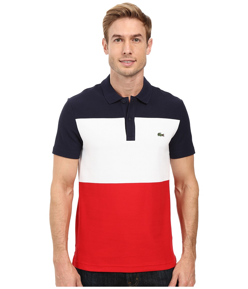 Lacoste - Short Sleeve Color Block Textured Pique Polo (Navy Blue/White/Cherry Red) Men's Clothing